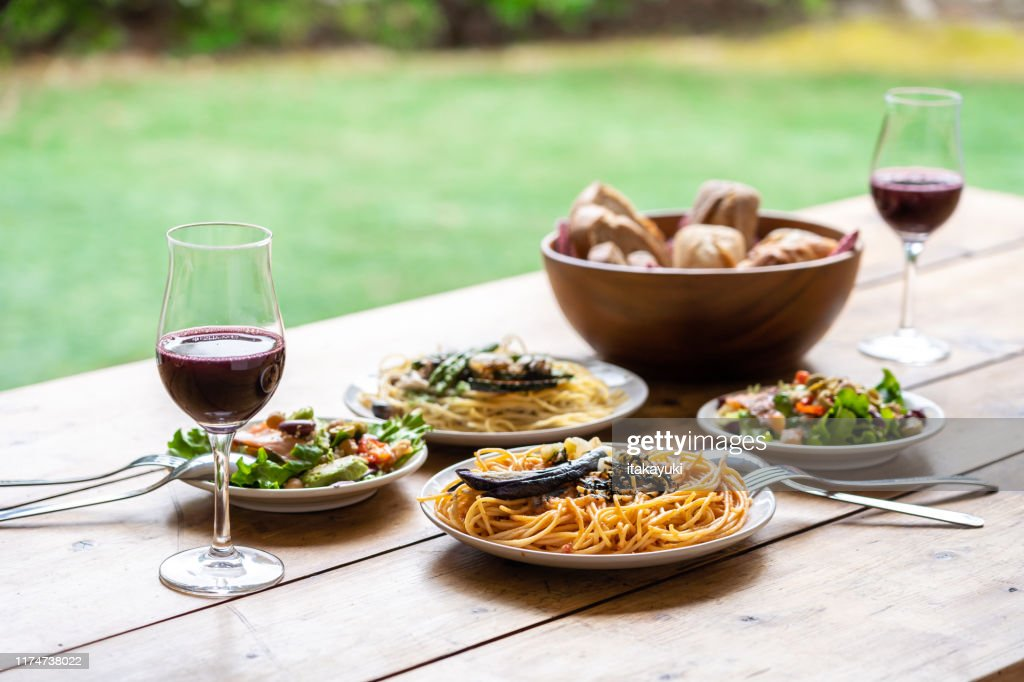 lunch cource on wooden table : Stock Photo