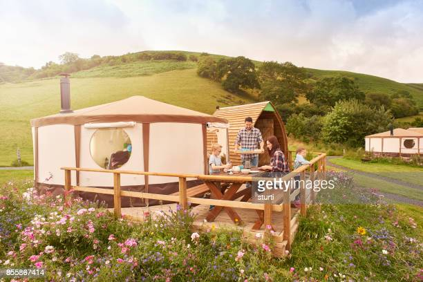 lunch for glamping family - yurt stock pictures, royalty-free photos & images