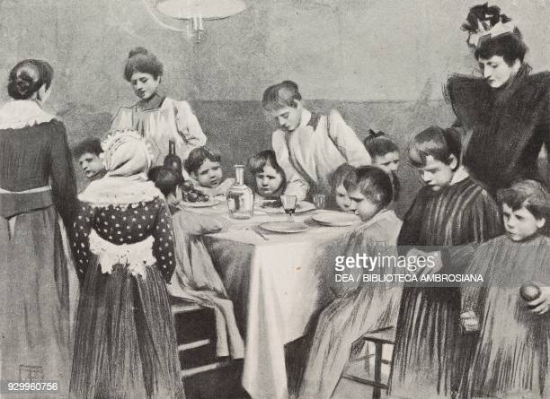Lunch for poor children cooking and hygiene school Milan Lombardy Italy drawing by Arnaldo Ferraguti from L'Illustrazione Italiana Year XXVII No 2...