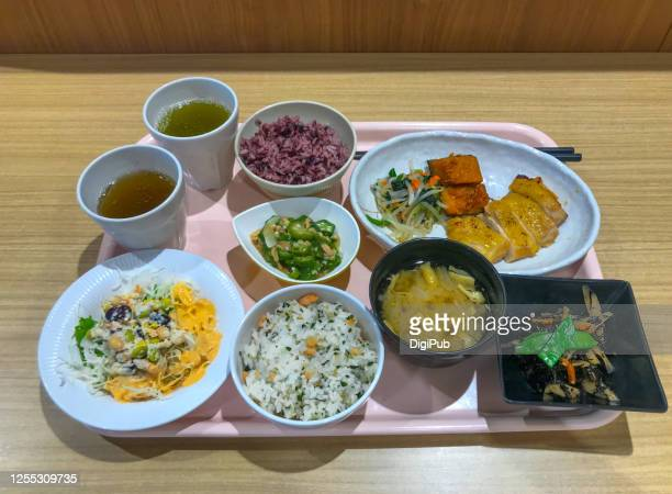 lunch meal taken at the cafeteria - aburaage stock pictures, royalty-free photos & images