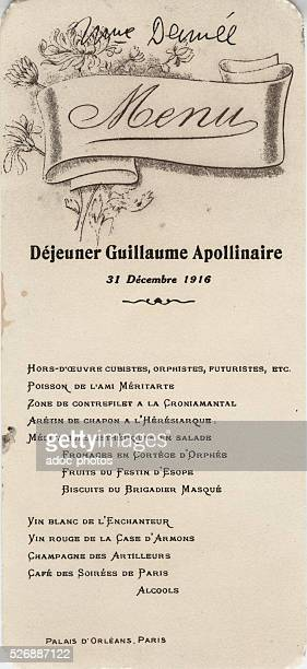 Lunch menu in honor of Guillaume Apollinaire by young poets grouped around Reverdy and the 'NordSud' magazine On December 31 1916