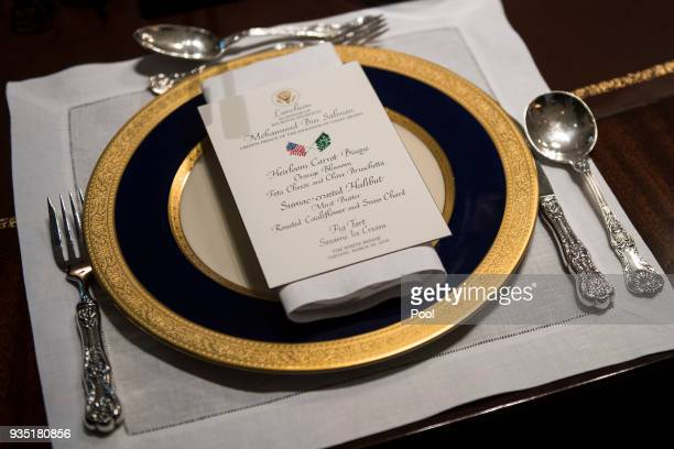A lunch menu is seen as President Donald Trump holds a working lunch with Crown Prince Mohammed bin Salman of the Kingdom of Saudi Arabia in the Oval...