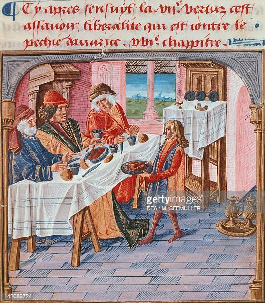 A lunch miniature from the Book of Good Manners by Jacques le Grant France 15th Century