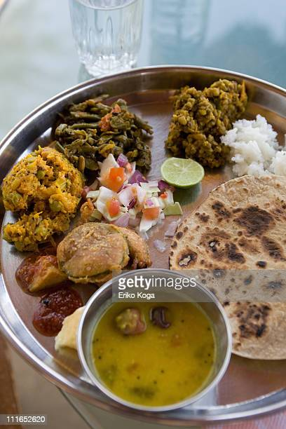 lunch of indian style - gujarat stock pictures, royalty-free photos & images