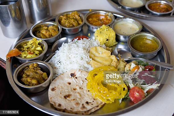 lunch of indian style - indian food stock photos and pictures