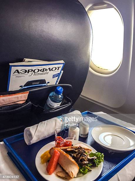 Lunch on board of airplane