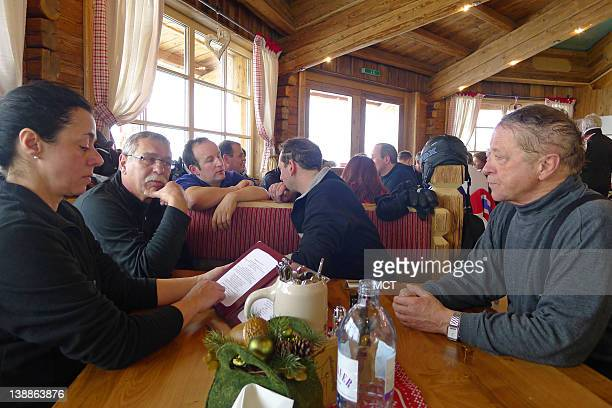 Lunch time at one of the mountain restaurants of Soelden Austria