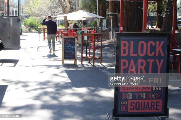 """Lunch time """"Block Party"""" of food trucks is seen empty on March 12, 2020 at Google's main campus in the Silicon Valley city of Mountain View as remote..."""