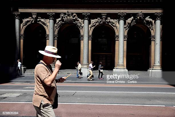 Lunch time pedestrians walk on George street It was Sydney's original high street and remains one of the busiest streets in the city centre Sydney...