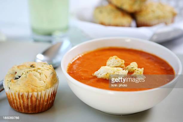 lunch - tomato soup,savory  muffin