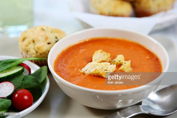 lunch - tomato soup,savory  muffin, salad