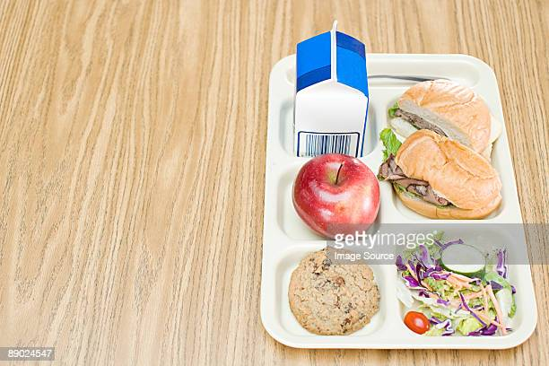 lunch tray - milk carton stock photos and pictures