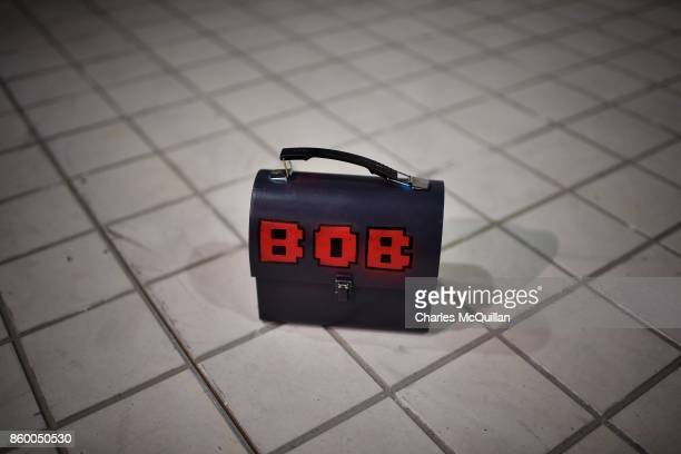 A lunchbox belonging to the robot character 'Bob' sits on the stage floor during a 'Playcraft' live rehearsal at The Playhouse Theatre and Arts...