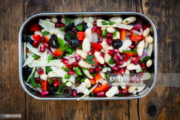 lunchbox with bean salad - larissa veronesi stock pictures, royalty-free photos & images