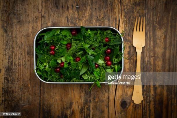 lunchbox with herb salad - larissa veronesi stock-fotos und bilder