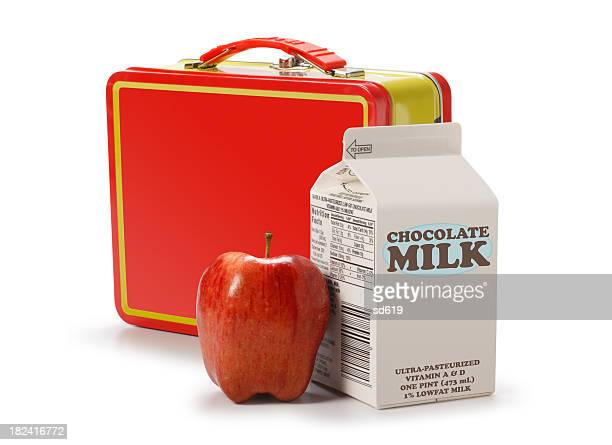Lunchbox with milk carton and apple
