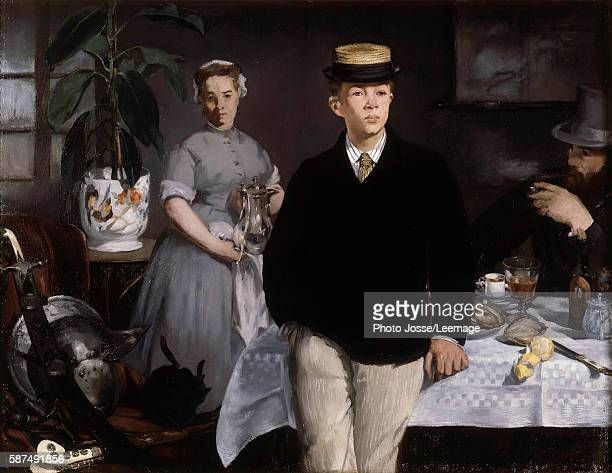 Luncheon in the studio Painting by Edouard Manet 1868 118 x 154 m Neue Pinakothek Munich Germany
