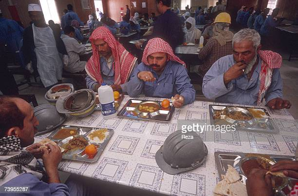 Lunchtime at the Haradh gas site cafeteria one of the worlds largest south of the vast oil fields of Ghawar in the prosperous region of Hassa March...