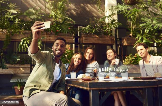 lunchtime selfie with my besties - internet cafe stock pictures, royalty-free photos & images