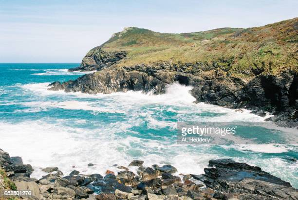 lundy bay beach (35mm film) - flowing cape stock pictures, royalty-free photos & images