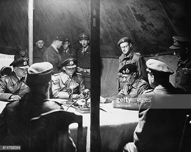 5/11/1945 Luneburg Heath Germany Montgomery dictates surrender terms Five German delegates listen intently as Field Marshall Bernard Montgomery...