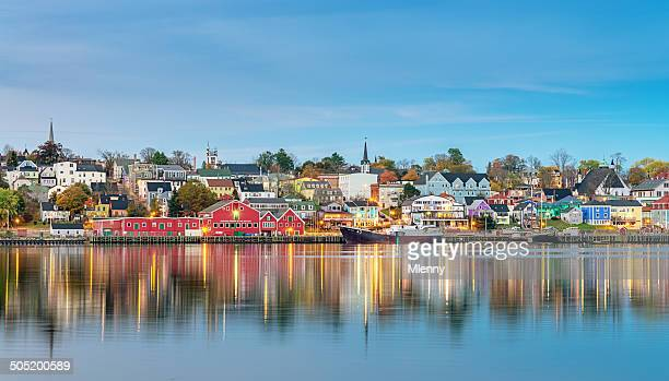 lunenburg panorama, nova scotia canada - atlantic ocean stock pictures, royalty-free photos & images