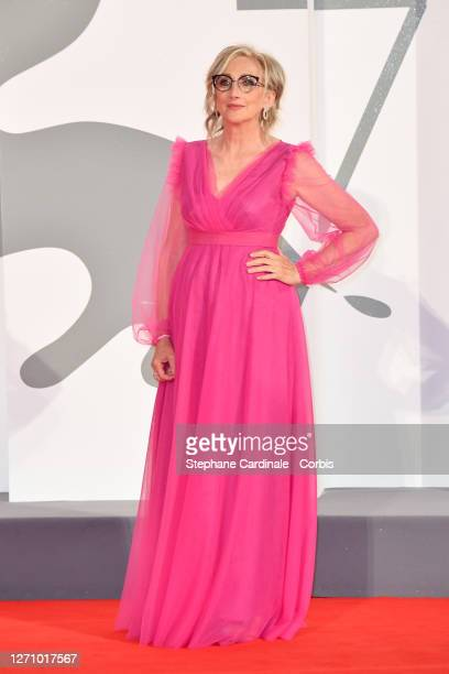 """Lunetta Savino walks the red carpet ahead of the movie """"The World To Come"""" at the 77th Venice Film Festival on September 06, 2020 in Venice, Italy."""