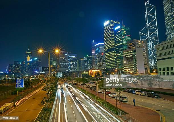 Lung Wo Road in Hong Kong at night