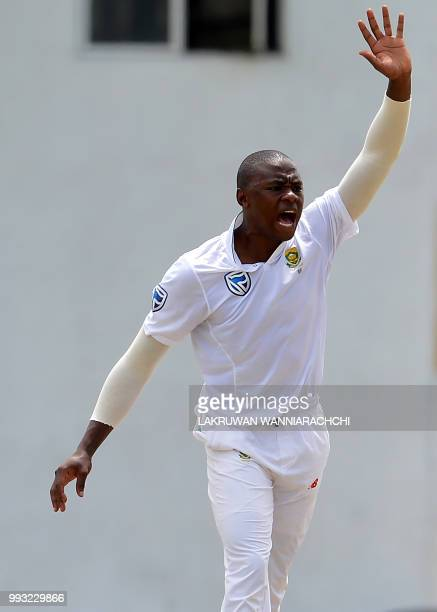 Lungi Ngidi of South Africa appeals during the opening day of a twoday practice match between the Sri Lanka Board XI and South African team in...