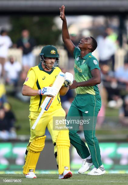 Lungi Ngidi of South Africa celebrates after taking the wicket of Aaron Finch of Australia during game three of the One Day International series...