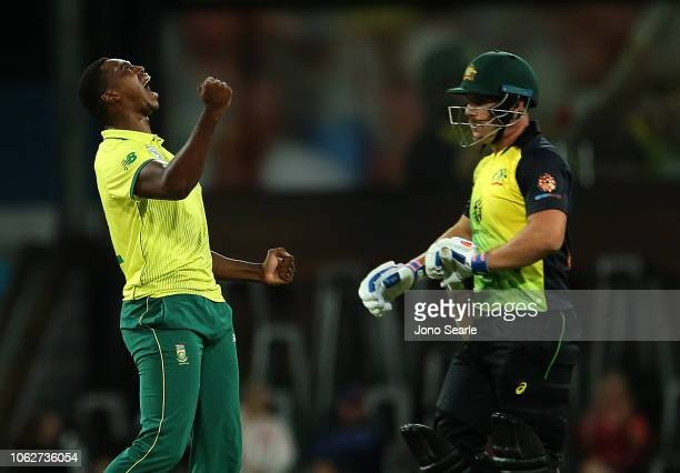 Lungi Ngidi of South Africa celebrates taking the wicket of Aaron Finch of Australia during the International Twenty20 match between Australia and...
