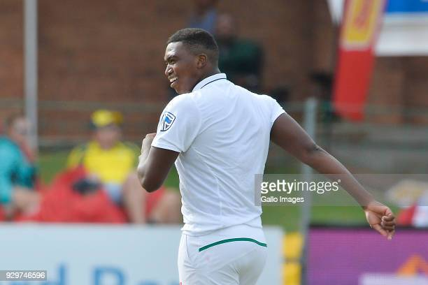 Lungi Ngidi of South Africa celebrates the wicket of Nathan Lyon of Australia during day 1 of the 2nd Sunfoil Test match between South Africa and...