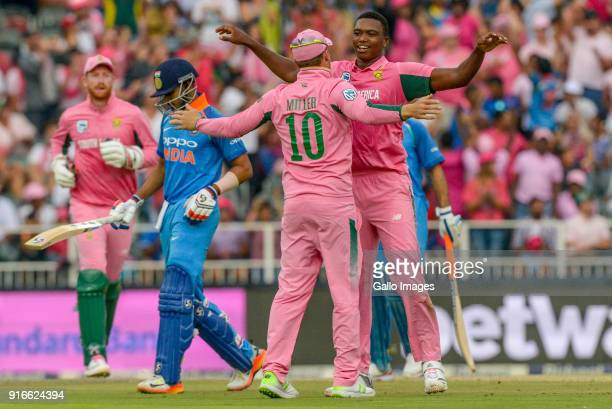 Lungi Ngidi of South Africa celebrates with teammate David Miller during the 4th Momentum ODI match between South Africa and India at Bidvest...