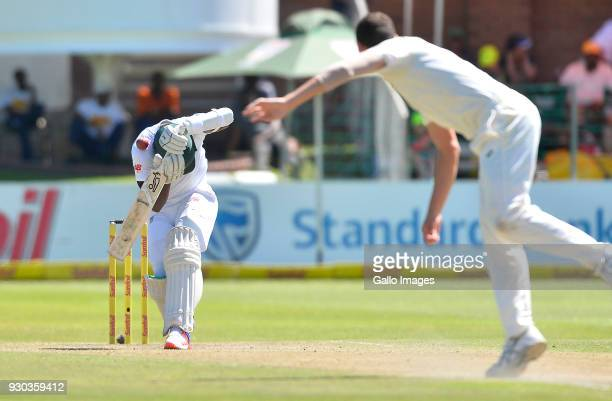 Lungi Ngidi of South Africa during day 3 of the 2nd Sunfoil Test match between South Africa and Australia at St Georges Park on March 11 2018 in Port...