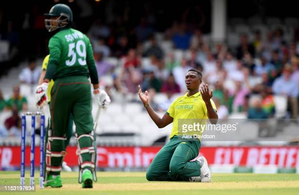 Lungi Ngidi of South Africa reacts to a chance going down off Soumya Sarkar of Bangladesh during the Group Stage match of the ICC Cricket World Cup...