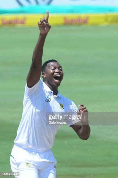 Lungi Ngidi of the Proteas celebrates the wicket of Hardik Pandya of India during day 5 of the 2nd Sunfoil Test match between South Africa and India...