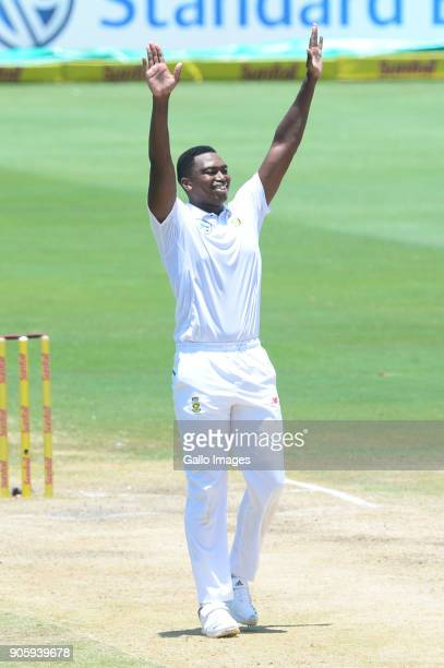 Lungi Ngidi of the Proteas celebrates the wicket of Mohammed Shami of India during day 5 of the 2nd Sunfoil Test match between South Africa and India...