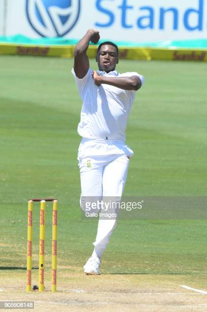 Lungi Ngidi of the Proteas during day 5 of the 2nd Sunfoil Test match between South Africa and India at SuperSport Park on January 17 2018 in...