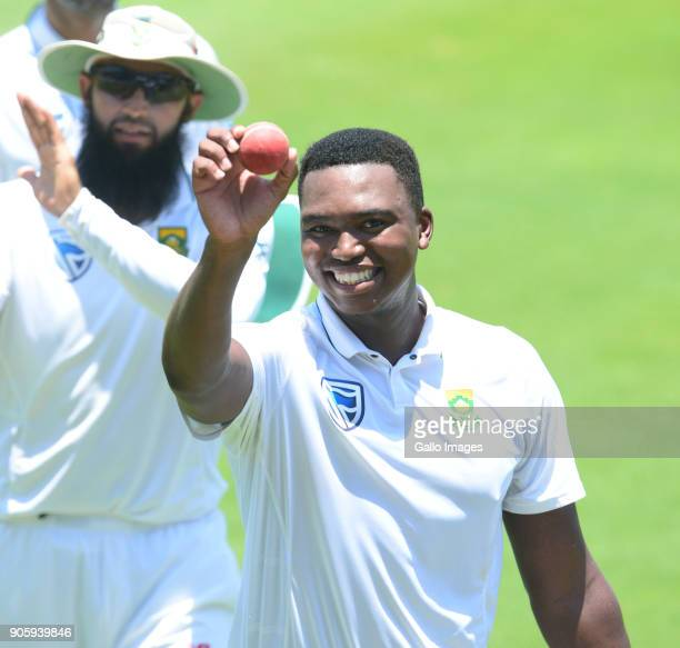 Lungi Ngidi of the Proteas takes 6 wicket for 39 runs during day 5 of the 2nd Sunfoil Test match between South Africa and India at SuperSport Park on...