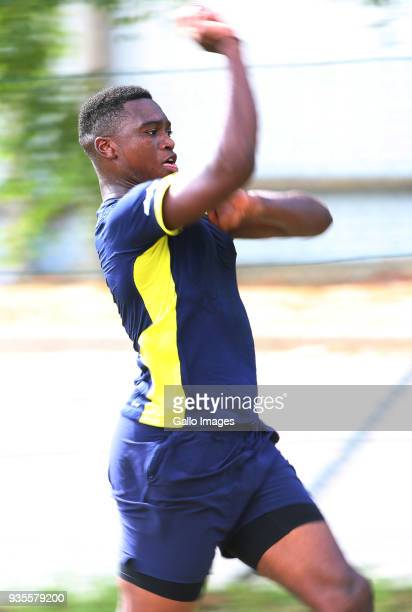 Lungisani Ngidi bowls during the South African cricket team training session at PPC Newlands Stadium on March 21 2018 in Cape Town South Africa