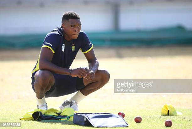 Lungisani Ngidi looks on during the South African cricket team training session at PPC Newlands Stadium on March 21 2018 in Cape Town South Africa
