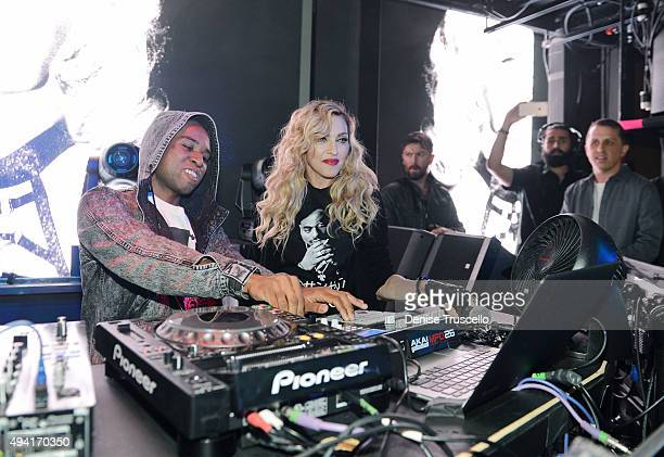 DJ Lunice performs with singer Madonna at Marquee Nightclub at The Cosmopolitan of Las Vegas as she hosts an after party for her Rebel Heart Tour...
