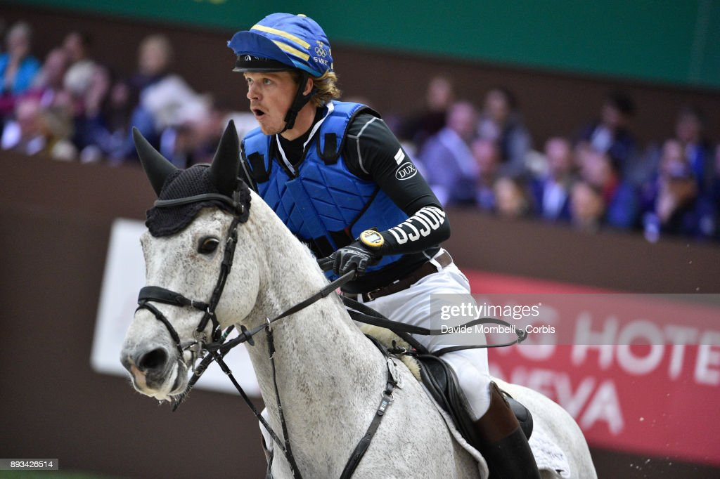 Lunwig SVENNERSTAL, of Sweden, riding El Kazir S , during the Cross Indoor sponsored by Tribune de Genève , Rolex Grand Slam Geneva 2017