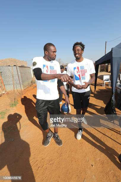 Luol Deng and AlFarouqAminu of Team Africa at the Habitat for Humanity event as part of the Basketball Without Boarders Africa program at Lawly...
