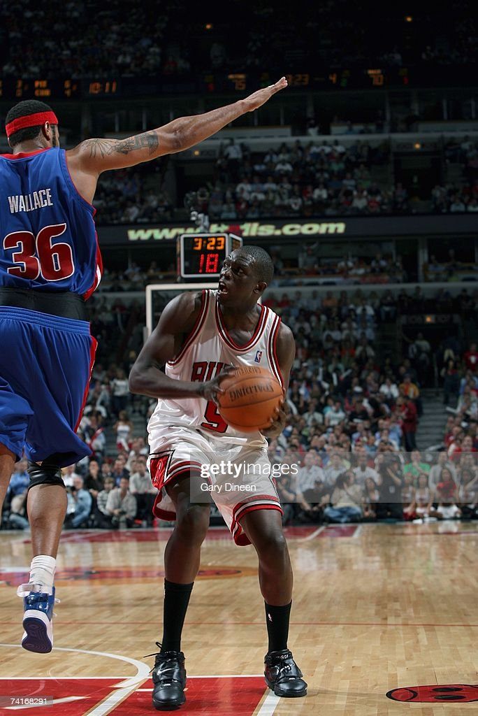 Luol Deng #9 of the Chicago Bulls moves the ball against Rasheed Wallace #36 of the Detroit Pistons in Game Three of the Eastern Conference Semifinals during the 2007 NBA Playoffs at the United Center on May 10, 2007 in Chicago, Illinois. The Pistons won 81-74 to take a 3-0 lead in the series.