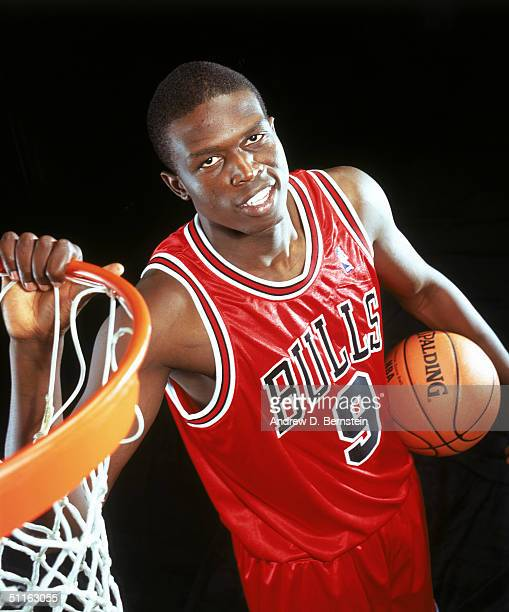 Luol Deng of the Chicago Bulls poses for a portrait during the 2004 NBA Rookie Shoot at Madison Square Garden Training Facility on August 2, 2004 in...
