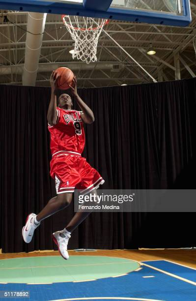 Luol Deng of the Chicago Bulls poses for a portrait during the 2004 NBA Rookie shoot at the Madison Square Garden Training Facility on August 2, 2004...