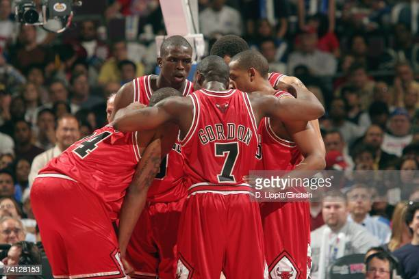 Luol Deng of the Chicago Bulls second from left huddles with teammates during a break in Game Two of their Eastern Conference Semifinals against the...