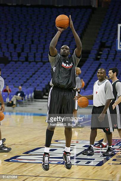 Luol Deng of the Chicago Bulls shoots the ball during the 2009 NBA Europe Live on October 4, 2009 in London, England. NOTE TO USER: User expressly...