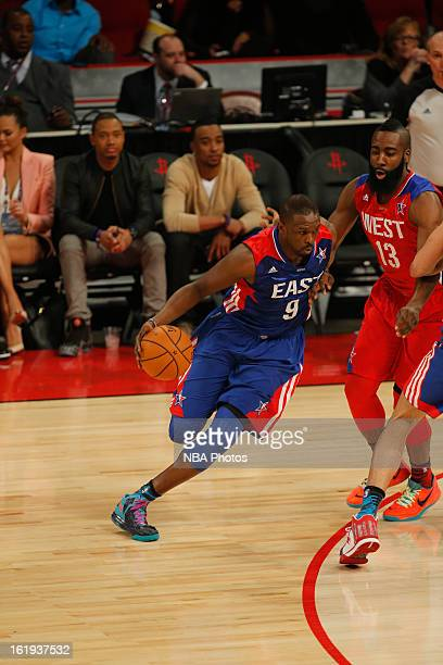 Luol Deng of the Eastern Conference AllStars drives to the basket against the Western Conference AllStars during 2013 NBA AllStar Game on February 17...
